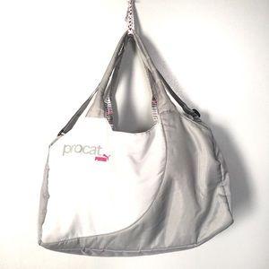 Gray & White Puma Pro Cat Duffle Gym Bag
